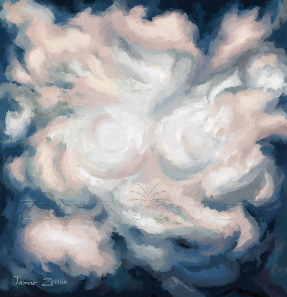 ציור אבסטרקט כחול