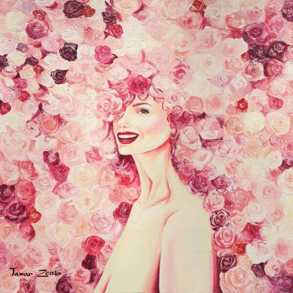 ציור אישה בפרחים