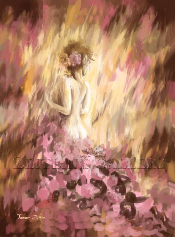 ציור אישה בורדים