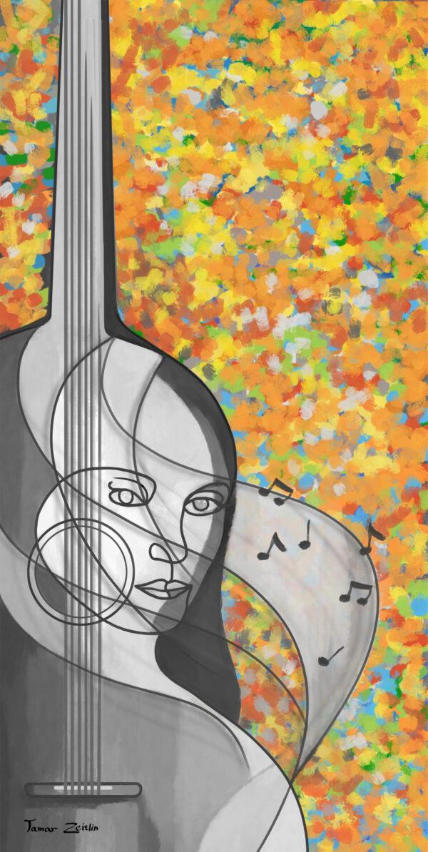 ציור אני גיטרה צבעוני