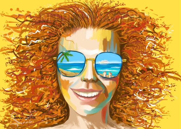 ציור בחורה על החוף