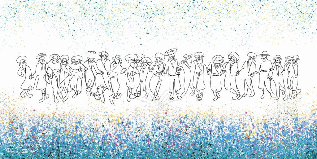 ציור חסידים רוקדים ביחד בגווני כחול תכלת