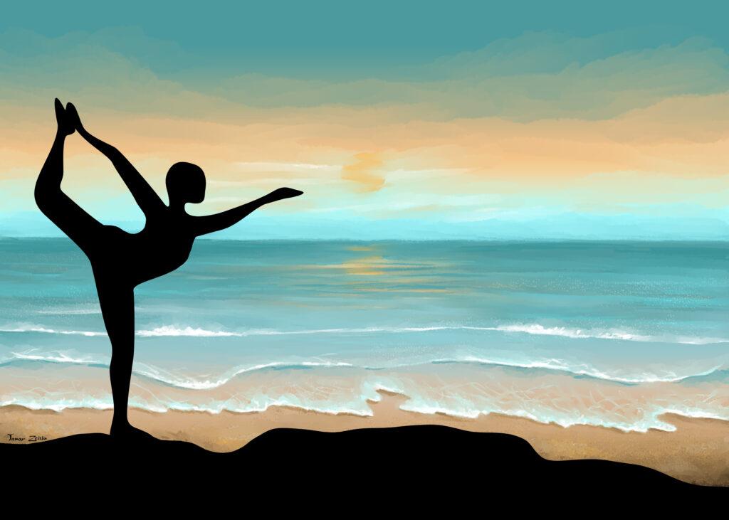 ציור של יוגה בשקיעה