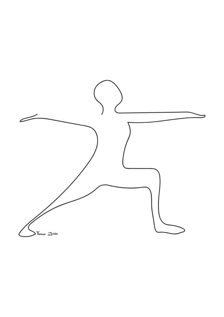 ציור יוגה תנוחת לוחם