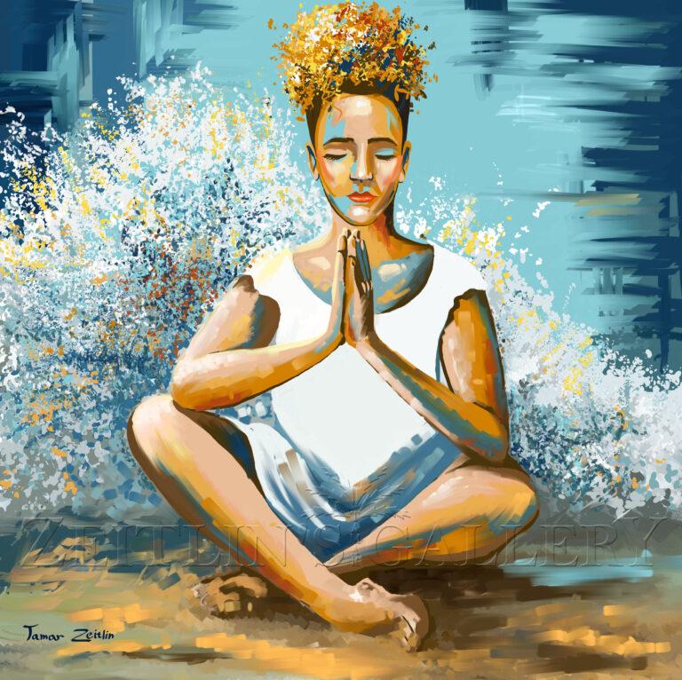 ציור בחורה ביוגה