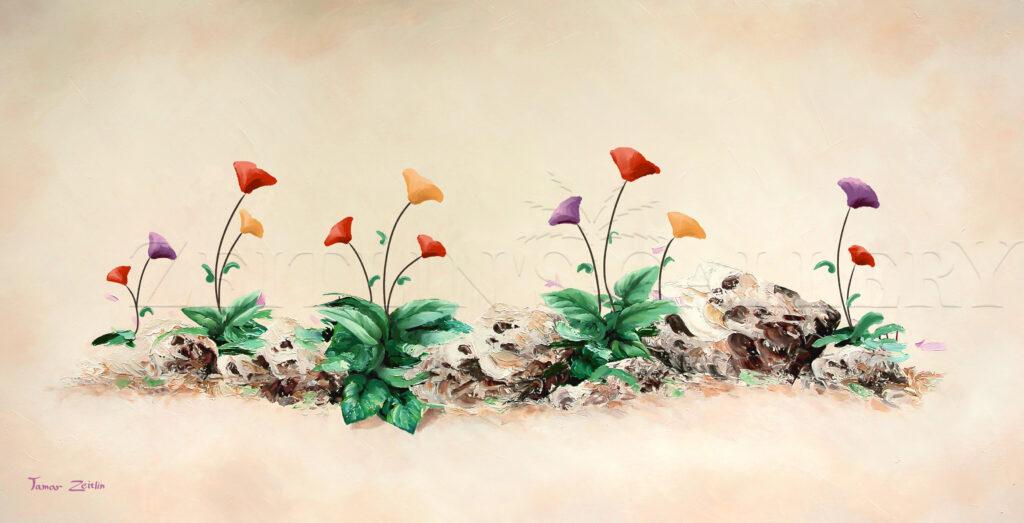 ציור כלניות צבעוניות