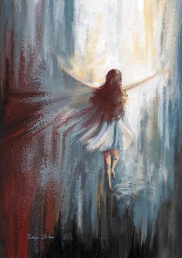 ציור מלאכית עפה מעלה