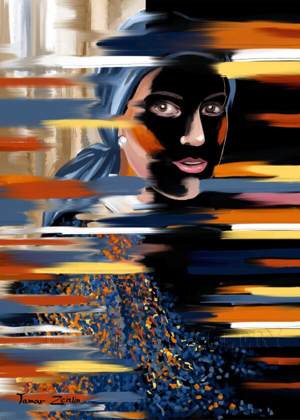 ציור אישה מאחורי המחיצה