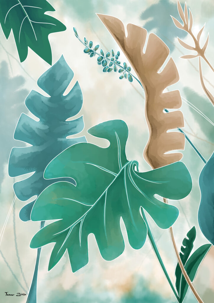 ציור צמחיה בסגנון נורדי