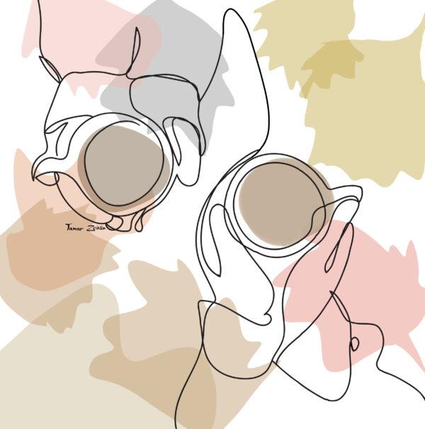 ציור קפה וחברות קו אחד