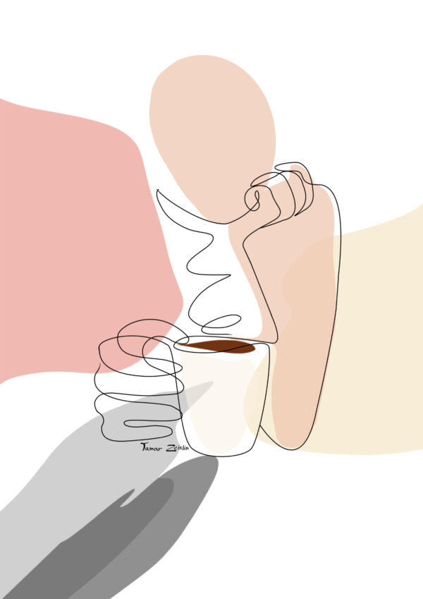 ציור קפה ומחשבות קו אחד