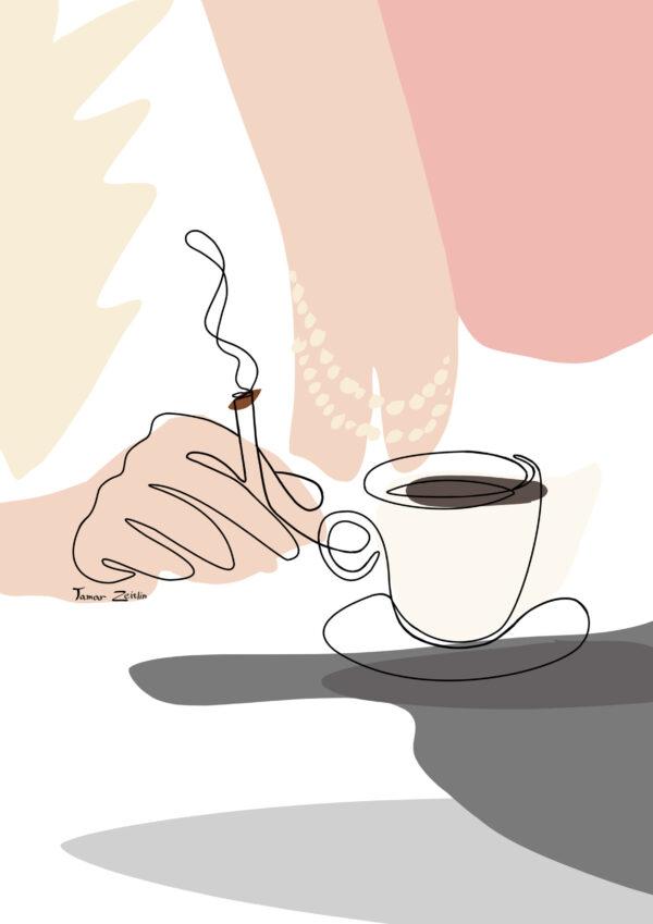 ציור קפה וסיגריה קו אחד