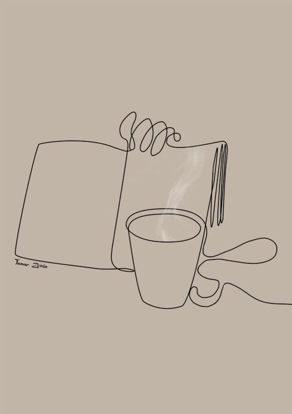 ציור קפה וספר קו אחד