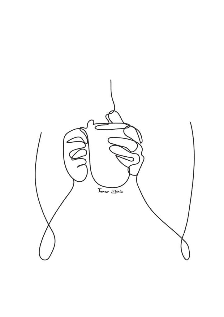 ציור קפה עוטף קו אחד