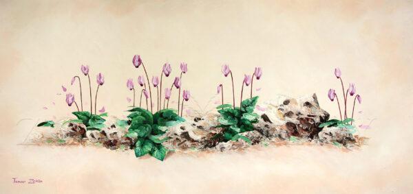ציור פריחת הרקפות בין הסלעים