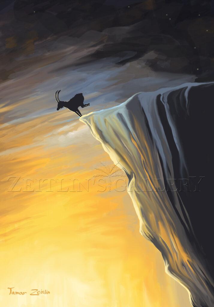 ציור אייל קופץ מצוק