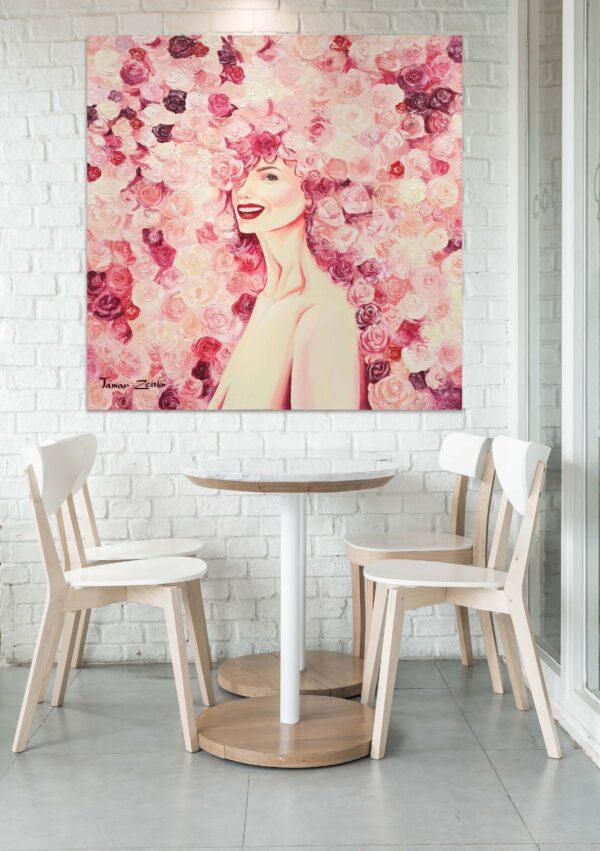 הדמיה ציור אישה בפרחים ורודים