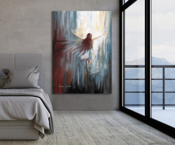הדמיה ציור מלאכית עפה למעלה