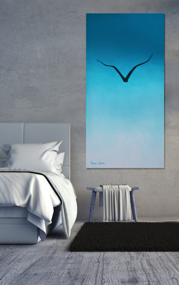 הדמיה ציור ציפור החופש בחדר שינה