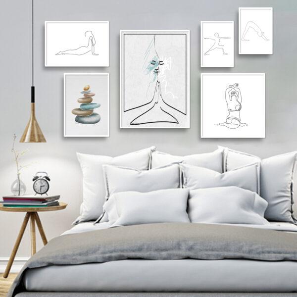 הדמייה קיר גלריה יוגה שקט לבן